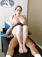 Mrs. Kitty Lee demonstrates what is named really giant boobs for a young student