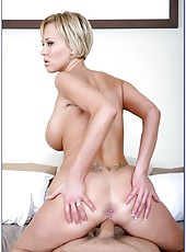 Short-haired blonde milf Carly Parker gets naked and tastes cum after hot sex