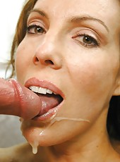 Gorgeous brunette Paige Rene tastes a sweet sperm after an awesome porn action