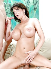 Nasty brunette milf Mrs. Deauxma sucks her neighbors