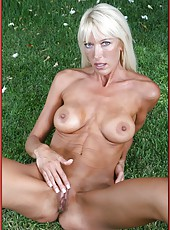 Outdoor masturbation scene with a tanned blonde mature named Bianca Noble