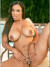 Amazing outdoor scene in which sexy brunette Soleil plays with her lovely pussy