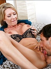 Adorable milf Emma Starr enjoying her new muscled friend and his dick