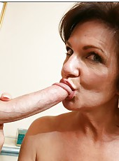 Mrs. Deauxma rides a young cock and gets a sperm on the tits