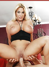 Busty blonde Holly Halston rides a big dick and gets a sperm on the face