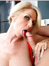 Posh hooker Penny Porsche making a titjob and swallowing a nice wiener