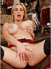Delicate coquette Tanya Tate playing with sissy and rubbing nipples