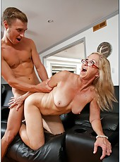 Naive milf Annabelle Brady banging with young guys in various positions