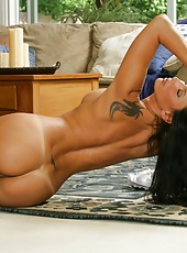 Giggly milf Lezley Zen taking off panties and showing marvelous butt