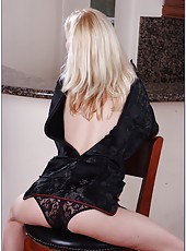 Petite cutie Heidi Hanson stripping in a chair and fingering vagina