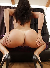 Winsome babe Lezley Zen playing with her tight pussy through sexy panties