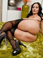 Superior pornstar Ava Addams posing in stockings and spreading wet sissy