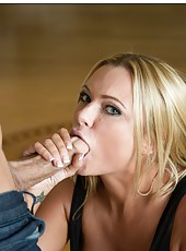 Curious babe Briana Banks hanging out with her neighbor and sucking his rod