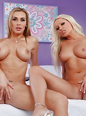 Excellent bitch Diana Doll posing with her friend and showing big boobs