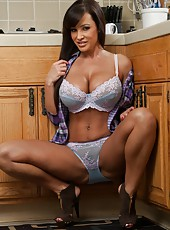 High-class chick Lisa Ann posing in blue lingerie and jilling hard