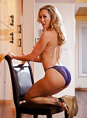 Superb wife Brandi Love showing hot body and fingering on the chair