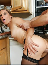 Cocky wife Alyssa Dutch enjoys riding a delicious wiener at the kitchen