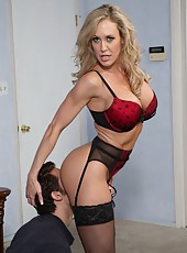 Goodly milf Brandi Love invited a young fellow and fucked him hard