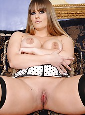 Classy fatty Holly Heart taking off lingerie and showing her amazing boobies