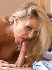 Carnal mature Julia Ann sucking a yummy wiener and getting pounded