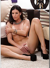 Engaging lady India Summer taking off hot lingerie and jilling sissy