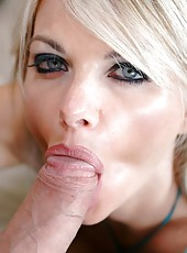 Naughty blonde babe Vicky Vette opens her mouth and gives a hot blowjob