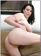 Passionate brunette milf Angelica Sin rubs her big tits and sucks a cock