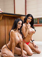 Prodigious hooker Ava Addams and her friend Romi showing delicious tits