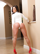 Remarkable whore Kendra Lust taking off white panties and showing big ass