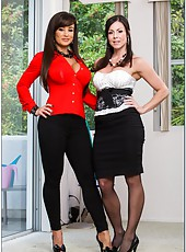 Lingerie models Kendra Lust and Lisa Ann showing their big tits