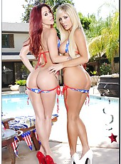 Outdoor pool party with bikini models Monique Alexander and Tasha Reign