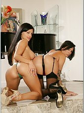 Dark haired milfs Aletta Ocean and Juelz Ventura in a hot threesome sex