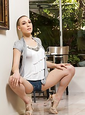 Cumshot action featuring short haired milf Lily LaBeau in a sexy lingerie
