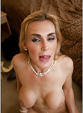 Cumshot scene with tremendous pornstar Tanya Tate in sexy lingerie