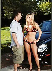 Busty milf Nikki Benz posing outdoor and sucking big dagger
