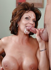 Mature slut with huge tits Deauxma is riding big dagger of her man