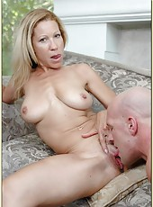 Horny milf Kimmie Morr is showing her big tits and fucking with her man