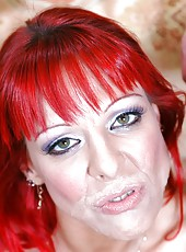 Milf girl with red hair Whitney Wonders is sucking hard cock