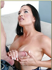 Wonderful pornstar Angel Caliente receiving facial from her man