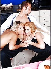Alluring babes Gia Ferrera and Gia Marley having fun with a naughty fellow