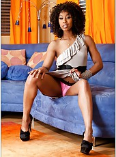 Pretty ebony Misty Stone working with her sissy and tasting a warm dick