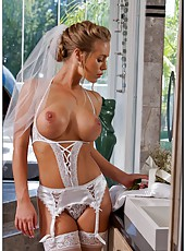 Charming bride Nicole Aniston having sex with her husband