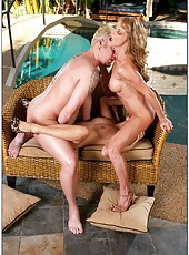 Sexy lesbians Roxy Jezel and Shayla LaVeaux getting dirty with a stranger