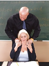 Pretty blonde with yummy tits Cala Craves getting drilled at school