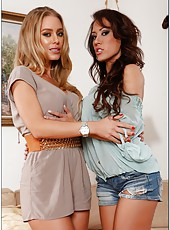Goodly lesbian chicks Capri Cavanni and Nicole Aniston teasing each other