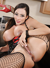 Gifted milf Ariella Ferrera stripping in a hot dress and fucking at the kitchen
