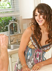 Skinny wife A.J. Estrada invited her neighbor and fucked him at the kitchen