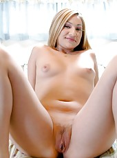 Mischievous blonde Sonia Lopez taking off clothes and getting a cumshot