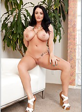 Amazing slut Sophie Dee rubbing boobs and preparing pussy for a big cock