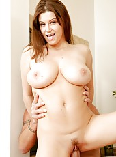 Staggering milf Sara Stone shows trimmed pussy and gets a big pecker